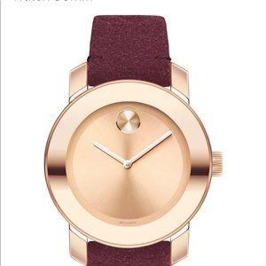 Women's Swiss BOLD red suede strap watch 36 mm